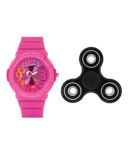 Fantasy World Watch & Spinner Combo - Pink & Black