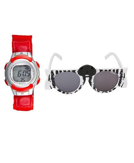 Fantasy World Watch & Sunglasses Combo - Red & Black