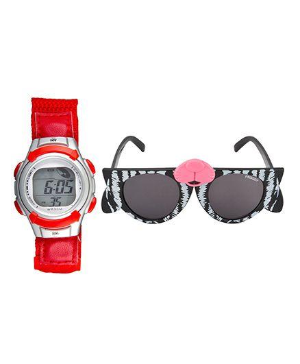 Fantasy World Watch & Sunglasses Combo - Red & White