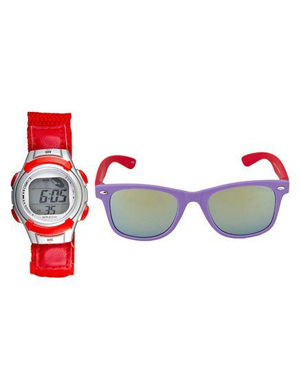 Fantasy World Watch & Sunglasses Combo - Red & Purple