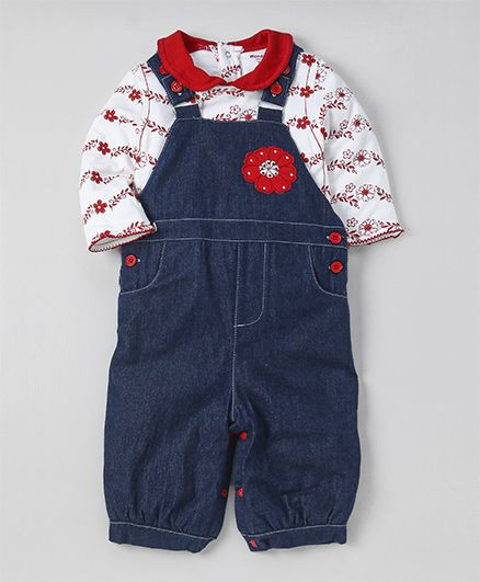 Wonderchild Flower Applique Dungaree With Tee - Navy & White
