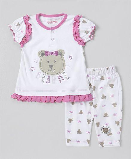 Wonderchild Teddy Applique Night Suit - White & Pink