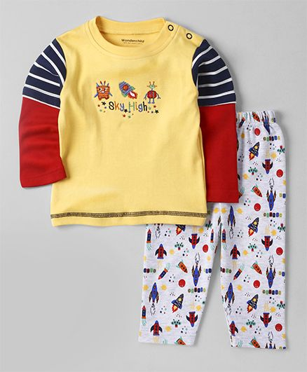 Wonderchild Rocket Print Night Suit - Yellow & White