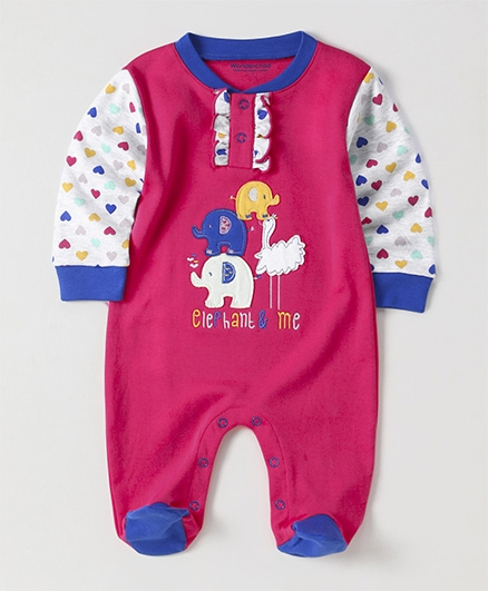 Wonderchild Elephant Applique Full Sleeves Romper - Pink
