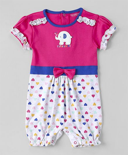 Wonderchild Heart Print Bow Applique Romper - Pink & White