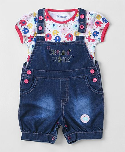 Wonderchild Dungaree With Elephant Print Tee - Blue & Pink