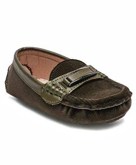 Cute Walk by Babyhug Party Wear Loafer Shoes - Dark Green
