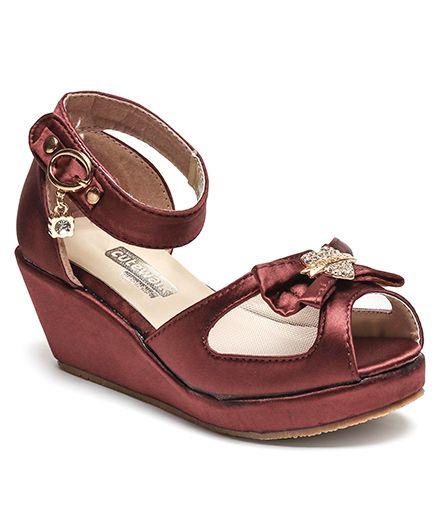 Cute Walk by Babyhug Party Wear Sandals Bow Motif - Maroon