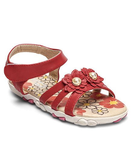 Cute Walk by Babyhug Sandal Floral Applique - Red