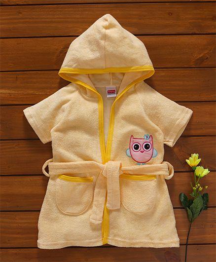 Babyhug Short Sleeves Hooded Bath Robe Owl Embroidery - Yellow