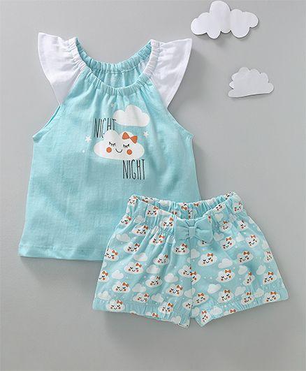 Babyoye Cap Sleeves Top & Shorts Night Wear Cloud Print - Light Blue