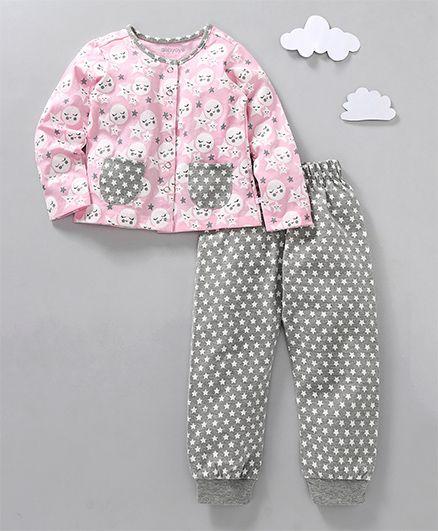 Babyoye Full Sleeves Night Suit Moon & Stars Print - Pink Grey