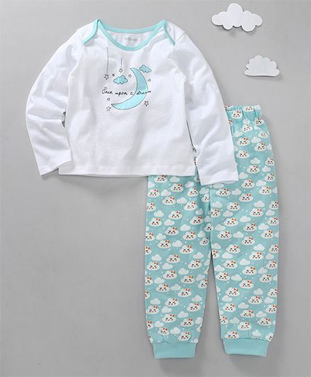Babyoye Full Sleeves Night Suit Once Upon A Dream Print - White Blue