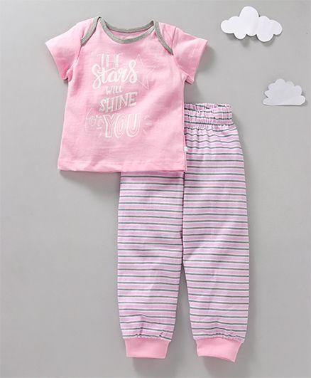 Babyoye Full Sleeves Night Suit Star Quote Print - Pink