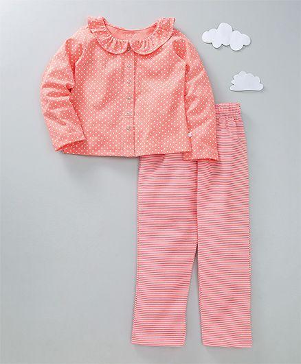 Babyoye Full Sleeves Night Suit Polka Dots & Stripes Print - Coral
