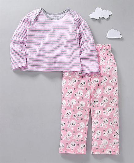 Babyoye Full Sleeves Night Suit Star & Moon Print - Pink