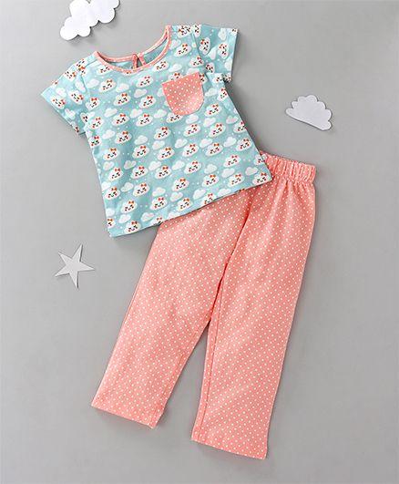 Babyoye Short Sleeves Printed Night Suit - Blue