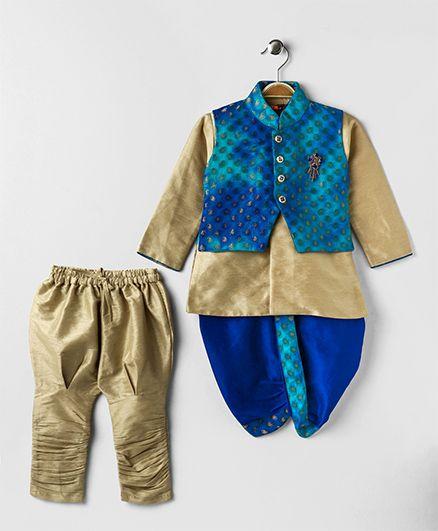 Ethniks Neu Ron Kurta Jacket Jodhpuri Breeches And Dhoti Set - Golden Blue