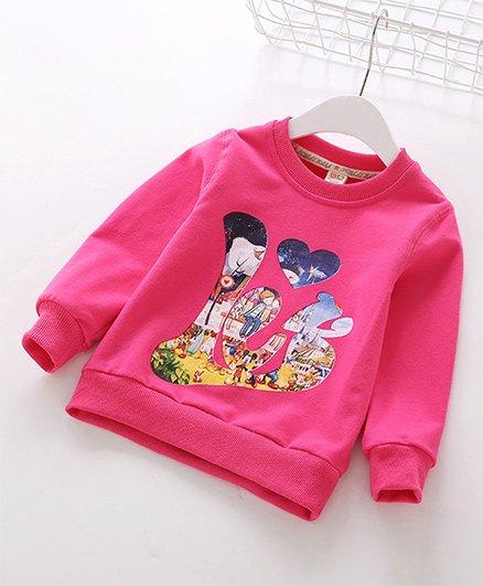 Pre Order - Awabox Stylish Print Sweatshirt - Rose