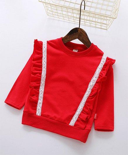 Pre Order - Awabox Ruffled Sweatshirt - Red