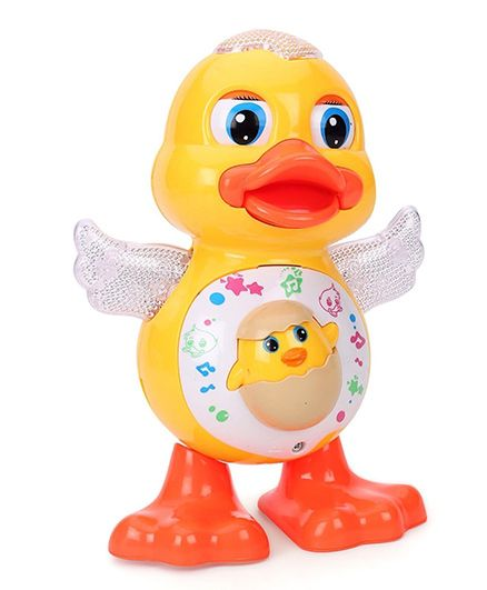 Toyshine Dancing Duck With Music & Flashing 3D Lights Multicolour - 17.7 cm