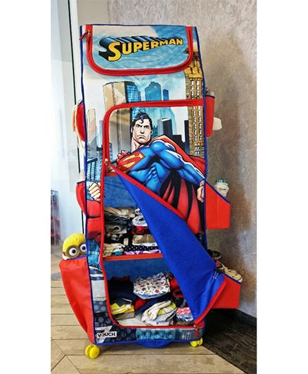 DC Comics Superman Folding Wardrobe With Wheels - Blue