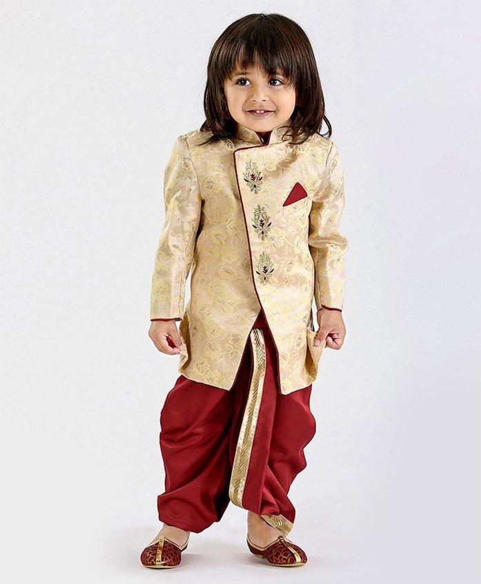 Babyoye Full Sleeves Kurta & Dhoti Set Floral Design - Beige Maroon
