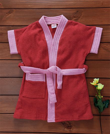 Babyhug Short Sleeves Bath Robe - Light Pink
