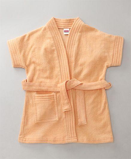 Babyhug Short Sleeves Bathrobe - Light Peach
