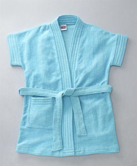Babyhug Short Sleeves Bathrobe - Light Blue