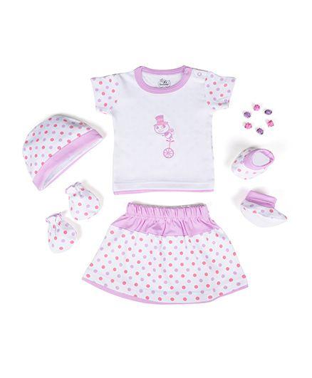 Beebop Girls Apparel Gift Set Bee Print Purple & White - Pack of 5