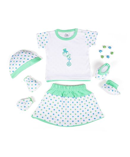 Beebop Girls Apparel Gift Set Bee Print Sea Green & White - Pack of 5