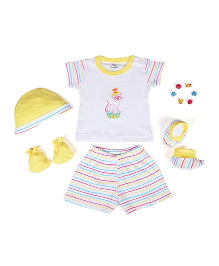 Beebop Boys Apparel Gift Set Stripes Print Pack of 5 - Yellow & White