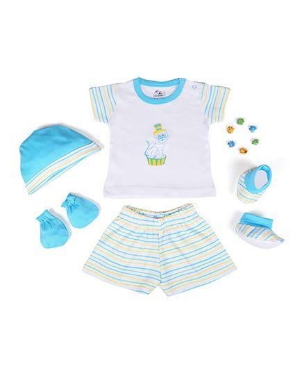 Beebop Boys Apparel Gift Set Stripes Print Pack of 5 - Blue & White
