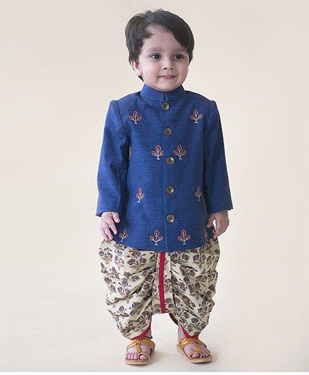 Tiber Taber Denim Buta Infant Bandhgala Dhoti Set - Blue