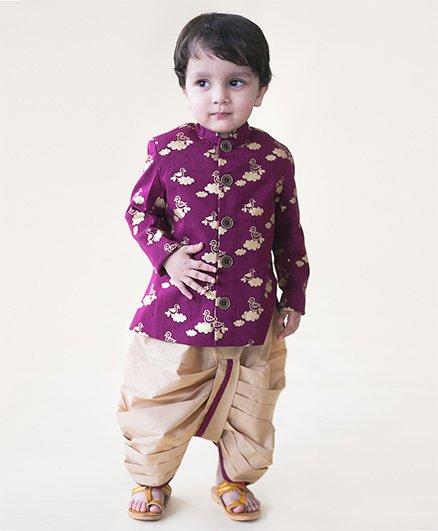 Tiber Taber Bird Infant Bandhgala Dhoti Set - Purple