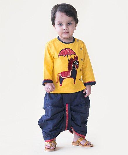 Tiber Taber Shahi Ghodi Dhoti Set - Yellow & Blue
