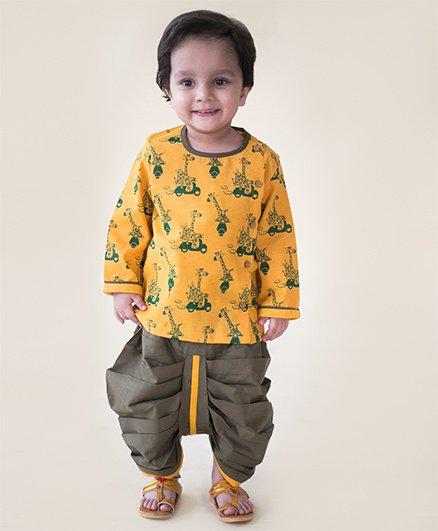 Tiber Taber Jungle Print Dhoti Kurta Set - Yellow & Olive