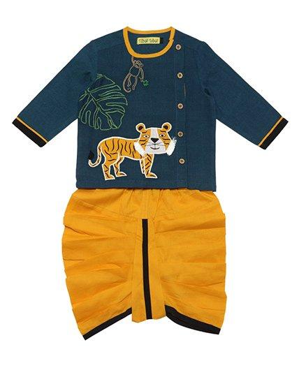 Tiber Taber Tiger Dhoti Kurta Set - Teal & Yellow