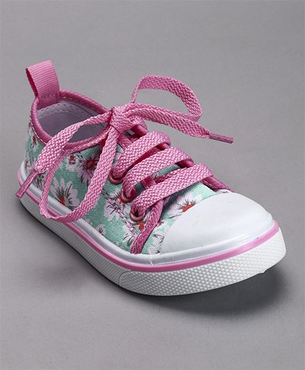 Cute Walk by Babyhug Canvas Shoes Floral Print - Pink