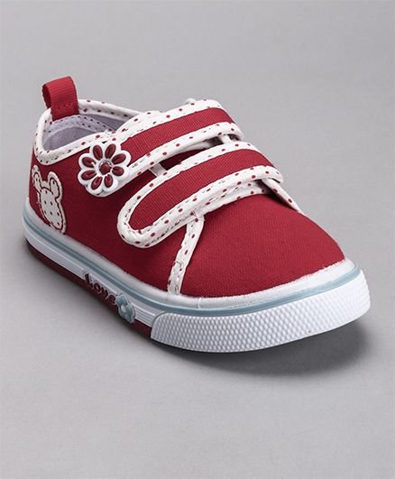 Cute Walk by Babyhug Canvas Shoes Flower Patch - Red
