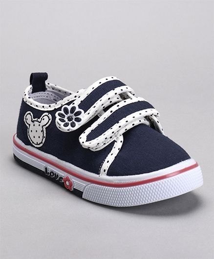 Cute Walk by Babyhug Canvas Shoes Flower Patch - Navy
