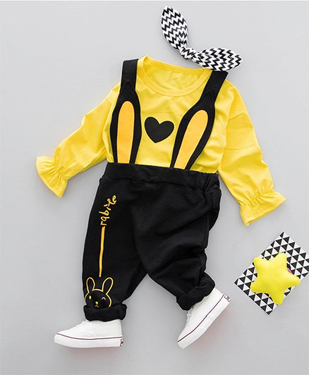 Pre Order - Awabox Tee With Bunny Design Dungaree - Yellow