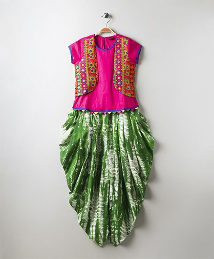 Twisha Shibori Dhoti Pants With Crop Top & Embroidered Jacket - Multicolor