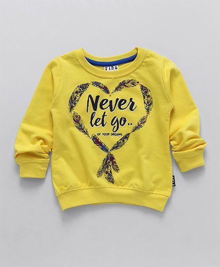 Fido Full Sleeves Sweatshirt Caption And Leaf Print - Yellow