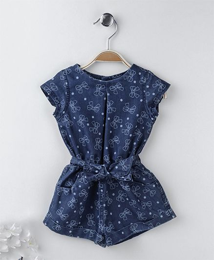 ToffyHouse Short Sleeves Denim Jumpsuit Bow Print - Blue