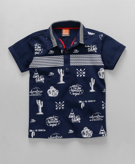 Little Kangaroos Half Sleeves Polo T-Shirt Adventure Camp Print - Navy