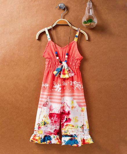 Little Kangaroos Singlet Jumpsuit With Beaded Necklace - Peach