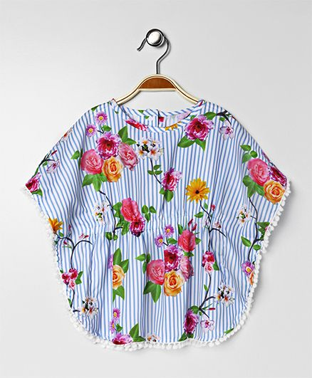 Little Kangaroos Poncho Top Floral Print - Blue