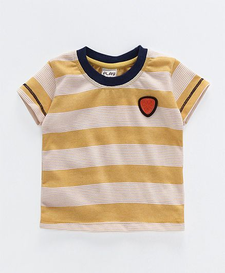 Little Kangaroos Half Sleeves T-Shirt Stripes Print - Yellow